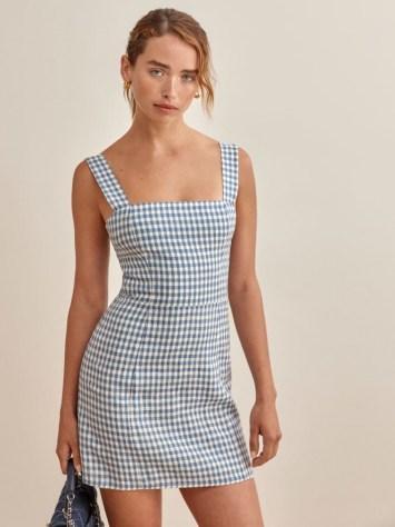 REFORMATION Brigitte Linen Dress in Azure Check / sleeveless blue checked square neck mini dresses - flipped