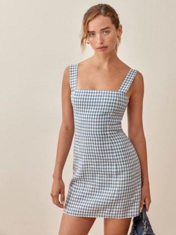 REFORMATION Brigitte Linen Dress in Azure Check / sleeveless blue checked square neck mini dresses