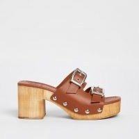 70s style platform sandals ~ RIVER ISLAND Brown double buckle mules