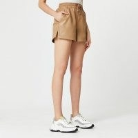 River Island Brown faux leather runner shorts