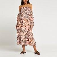 RIVER ISLAND Brown long sleeve animal bardot maxi dress ~ off the shoulder summer dresses