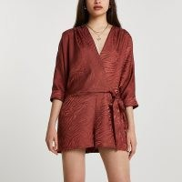 RIVER ISLAND Brown long sleeve animal print playsuit ~ wrap playsuits with tie side