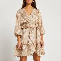 RIVER ISLAND Brown long sleeve frill mini dress ~ romantic ruffled dresses
