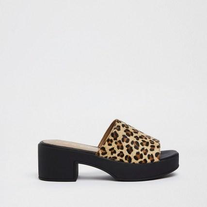 RIVER ISLAND Brown platform mules ~ leopard print platforms - flipped