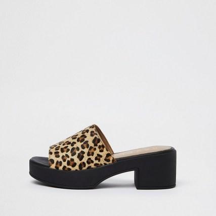 RIVER ISLAND Brown platform mules ~ leopard print platforms