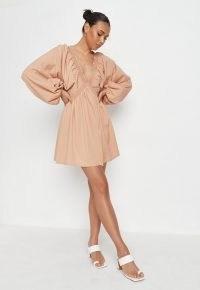 Missguided brown plunge kimono sleeve mini dress | deep V-neck balloon sleeve dresses