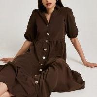 RIVER ISLAND Brown short puff sleeve tier shirt midi dress