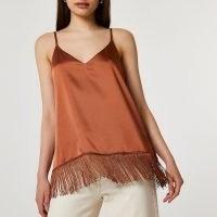 RIVER ISLAND Brown tassel hem cami top ~ fringed camisole tops