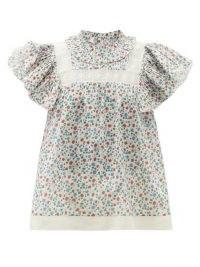 SEA Bubbie ruffled-sleeve floral-print cotton blouse / vintage style summer blouses