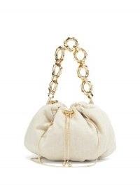 ROSANTICA Bubble Jungla mini canvas cross-body bag | small beige chunky link handle handbag | fine chain strap crossbody bags