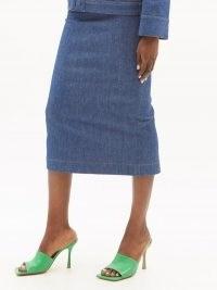 FENDI Buttoned denim pencil skirt ~ blue back button detail split hem skirts