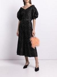 Carolina Herrera off-shoulder polka-dot print blouse / black silk bardot blouses