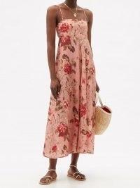 ZIMMERMANN Cassia Musk Floral-print linen midi dress in pink / spaghetti strap summer dresses