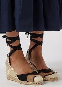 CASTAÑER Casey 75 canvas wedge espadrilles | ankle tie wedges | summer wedged heel sandals