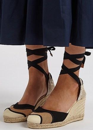 CASTAÑER Casey 75 canvas wedge espadrilles   ankle tie wedges   summer wedged heel sandals - flipped