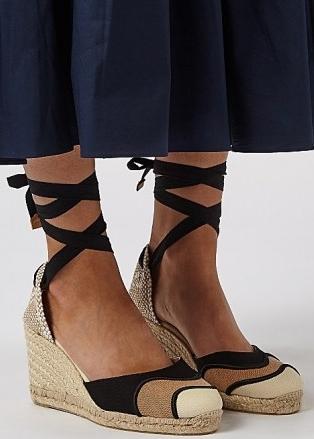 CASTAÑER Casey 75 canvas wedge espadrilles   ankle tie wedges   summer wedged heel sandals