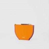 BURBERRY Colour Block Leather Olympia Card Case Deep Orange