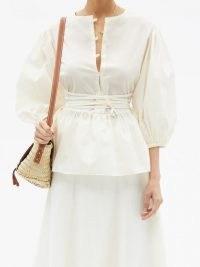 FIL DE VIE Ceres waist-ties poplin blouse | ivory balloon sleeve peplum hem blouses