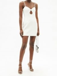 DAVID KOMA Chain-link strap crepe mini dress | glamorous white front cut out party dresses | occasion glamour