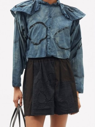 MIMI PROBER Chauncy pleated-collar organic-cotton blouse / hand-dyed oversized collar blouses - flipped