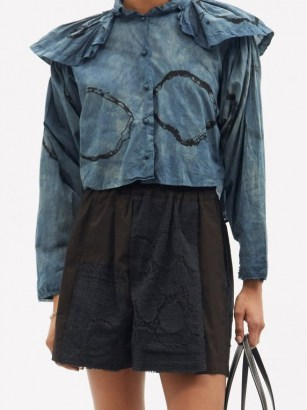 MIMI PROBER Chauncy pleated-collar organic-cotton blouse / hand-dyed oversized collar blouses