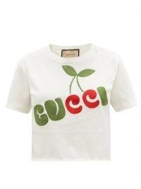 GUCCI Cherry-appliqué cropped cotton-jersey T-shirt / fruit applique logo tee