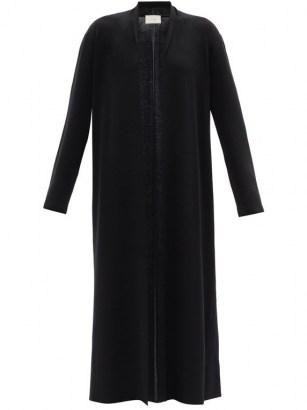 THE ROW Christobel black cashmere-blend cardigan | longline open front cardigans | shawl collar maxi cardi - flipped