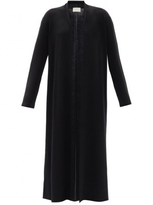 THE ROW Christobel black cashmere-blend cardigan | longline open front cardigans | shawl collar maxi cardi