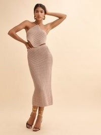 REFORMATION Circa Open Knit Two Piece ~ organic cotton knitted skirt and halterneck crop top set