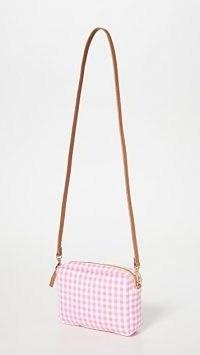Clare V. Gingham Midi Sac ~ pink gingham canvas crossbody