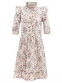 BATSHEVA Claude ruffled floral-print cotton-canvas dress | pink vintage style prairie dresses