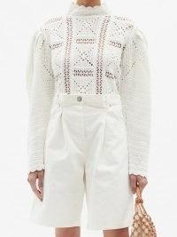 SEA Corinne cotton-crochet sweater | white volume sleeve sweaters