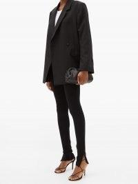 TOTÊME Cork slit-cuff skinny trousers ~ black jersey split hem skinnies