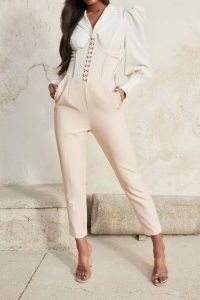 LAVISH ALICE corset trouser in champagne ~ going out trousers with fitted bodice ~ glamorous party fashion