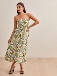 REFORMATION Cosima Linen Dress in Tropics / tropical print removable shoulder strap summer dresses