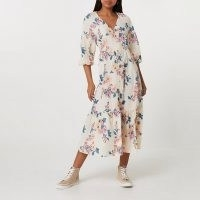 RIVER ISLAND Cream long sleeve floral smock dress