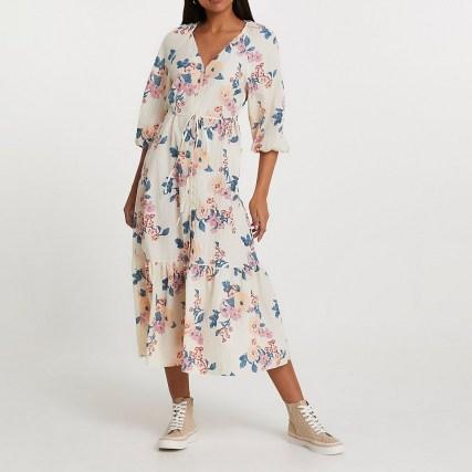 RIVER ISLAND Cream long sleeve floral smock dress - flipped