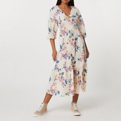RIVER ISLAND Cream long sleeve floral smock dress