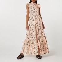 RIVER ISLAND Cream short sleeve frill detail maxi dress / romantic tiered spot print dresses