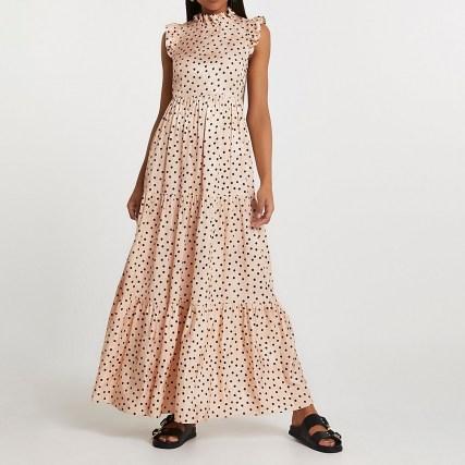 RIVER ISLAND Cream short sleeve frill detail maxi dress / romantic tiered spot print dresses - flipped