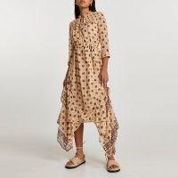 RIVER ISLAND Cream short sleeve frill midi dress ~ romantic style asymmetric hem dresses