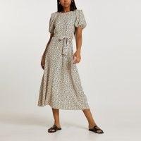 RIVER ISLAND Cream spot plisse tie waist midi dress ~ puff sleeve dresses