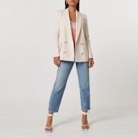 RIVER ISLAND Cream structured double breasted blazer ~ smart luxe style blazers