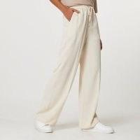 RIVER ISLAND Cream tie waist wide leg joggers ~ drawstring tie jogging bottoms