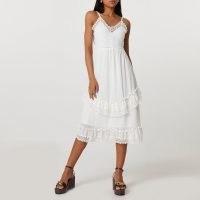 River Island Cream tiered slip dress | lace trim cami dresses