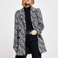 RIVER ISLAND Cream zebra puff sleeve blazer ~ animal print blazers ~ glamorous jackets
