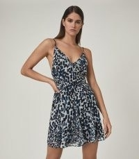 REISS CRESSIDA PRINTED MINI DRESS BLUE ~ skinny strap fit and flare dresses