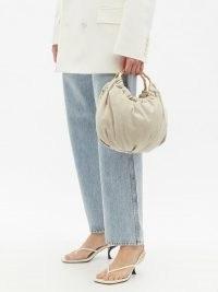 ROSANTICA Croissant Jungla canvas cross-body bag | slouchy beige bags | round top handle handbag