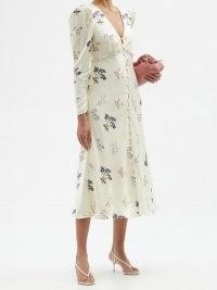 SELF-PORTRAIT Crystal-embellished floral-print midi dress / feminine summer occasion dresses