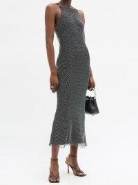 DAVID KOMA Crystal-embellished mesh midi dress | glittering party dresses